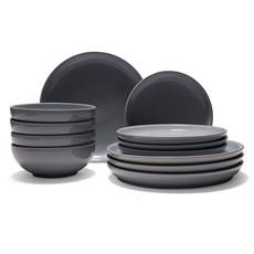 Denby Intro Stone 12 Piece Dinner Set - Grey