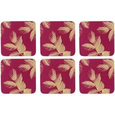 Sara Miller Etch Leaves Coasters Pink