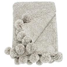 Cosy Knit Pom Pom Throw - Linen