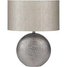 Textured Ceramic Silver Table Lamp