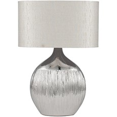 Etched Ceramic Silver Table Lamp