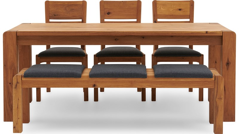 Mezzano 190cm Dining Table, Bench & 3 Dining Chairs