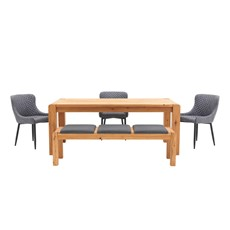 Mezzano 190cm Dining Table, Bench & 3 Upholstered Dining Chairs