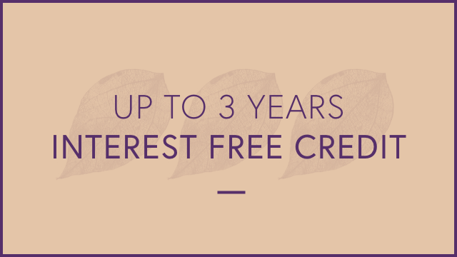 Up to 3 years interest free credit