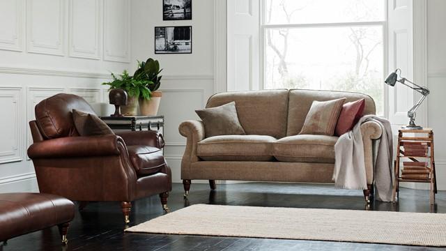 Westbury Two Seater Sofa In Montauk Chair In Dallas Tan