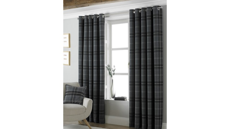 Aviemore Check Curtains - Grey