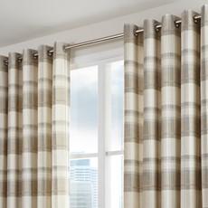 Balmoral Check Curtains - Natural