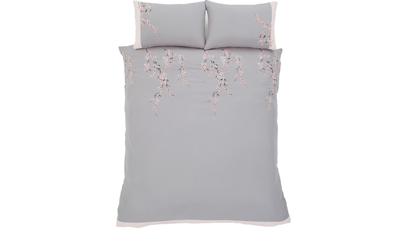 Catherine Lansfield Embroidered Blossom Duvet Set - Grey