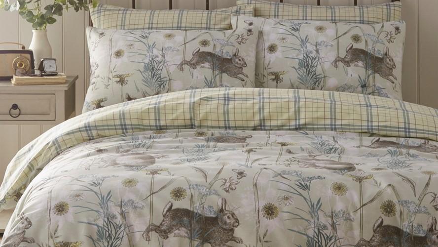 Rabbit Meadow Duvet Set - Sage