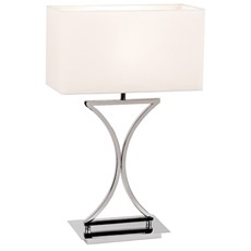 Chrome Finish Table Lamp & White Shade