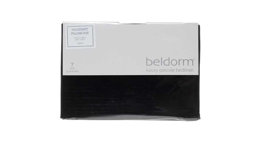 Percale 200 Housewife Pillowcase - Black