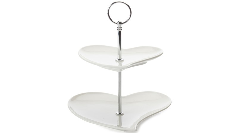 Maxwell & Williams White Basics Heart 2 Tier Cakestand