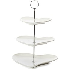 Maxwell & Williams White Basics Heart 3 Tier Cakestand