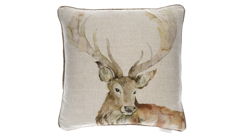 Voyage Gregor Stag Square Cushion - Linen