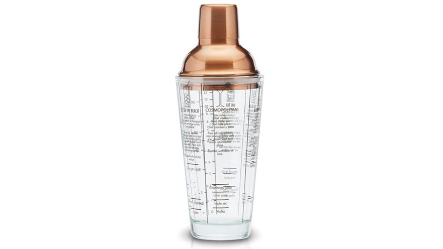 Kitchencraft Bar Craft Glass Cocktail Shaker - Copper Finish