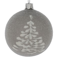 Glitter Tree Glass Christmas Bauble - Grey