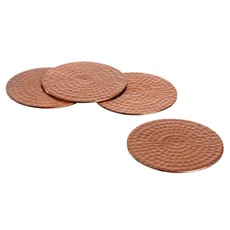 Just Slate Flat Hammered Copper Coasters (Set of 4)