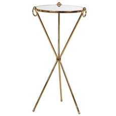 Glass Gold Cross Side Table