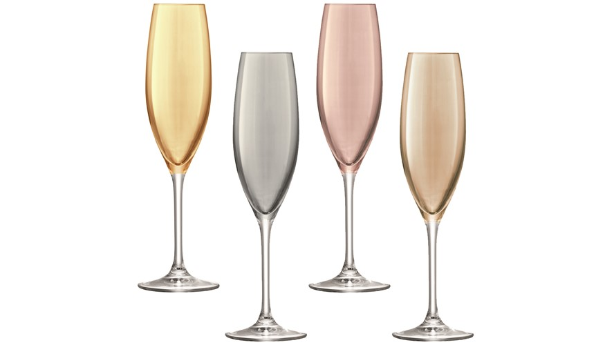 LSA Polka Champagne Flutes (Set of 4) - Metallic