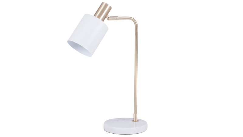 Retro White & Gold Marble Foot Table Lamp