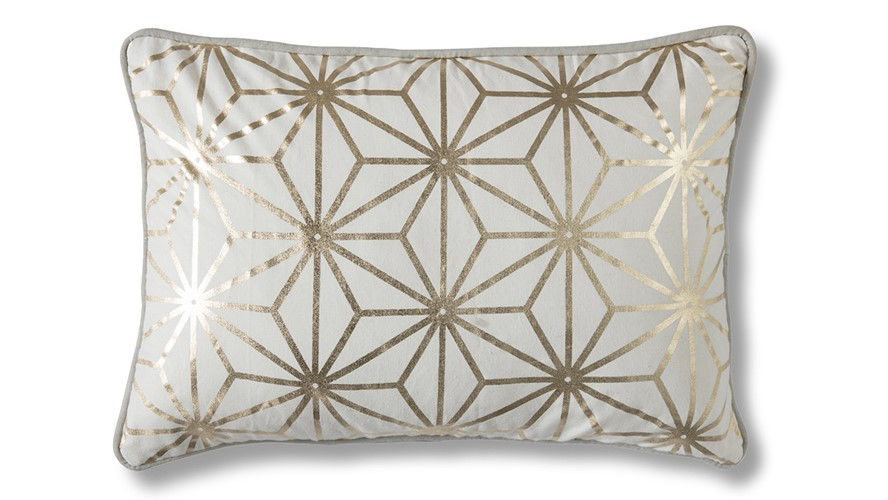 Diamond Geo Rectangular Cushion - Gold