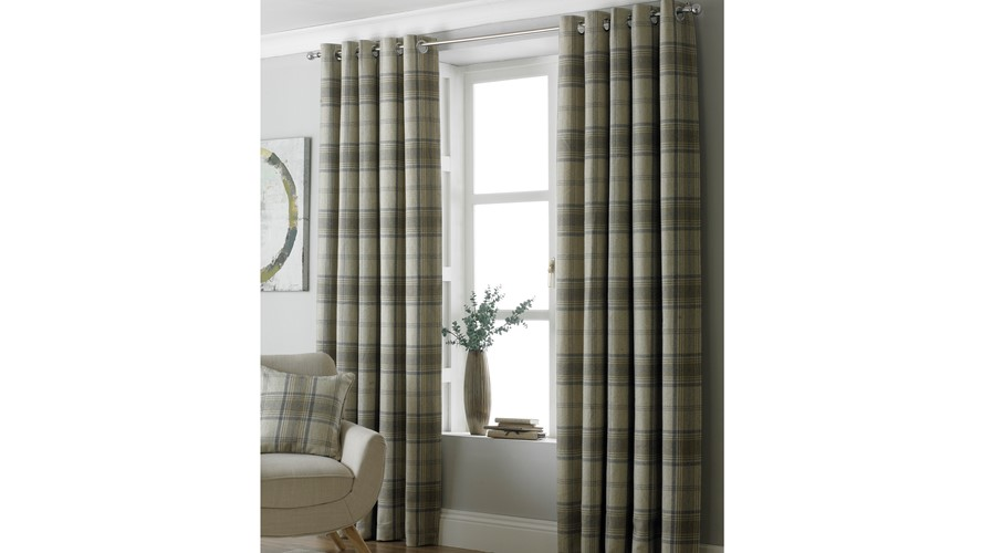 Aviemore Natural Check Curtains