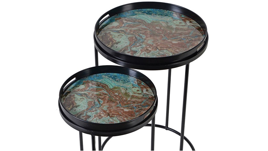 Marble Side Table & Tray - Blue