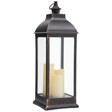Lantern with LED Candles - Antique Black