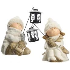 Winter Children Sitting With Lanterns - Assorted