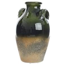 Half Glazed Terracotta Jar - Dark Green