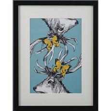 Gillian Kyle Stag & Butterflies A4 Framed Print