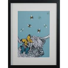 Gillian Kyle Cow, Bees & Butterflies A4 Framed Print