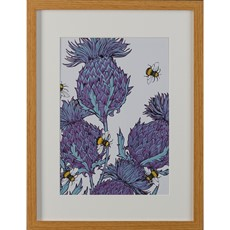 Gillian Kyle Lilac Thistle & Bees A4 Framed Print