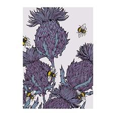 Gillian Kyle White Thistle & Bees A4 Framed Print