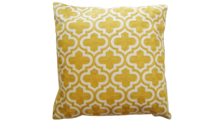 Moroccan Trellis Cushion - Mustard