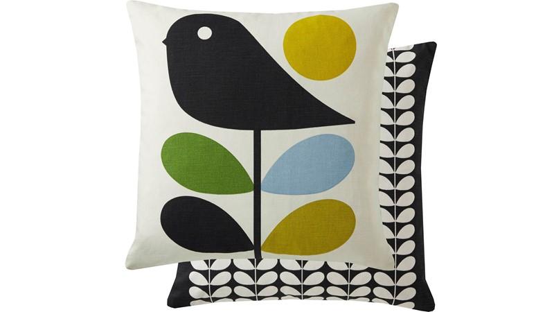 Orla Kiely Early Bird Square Cushion - Duck Egg