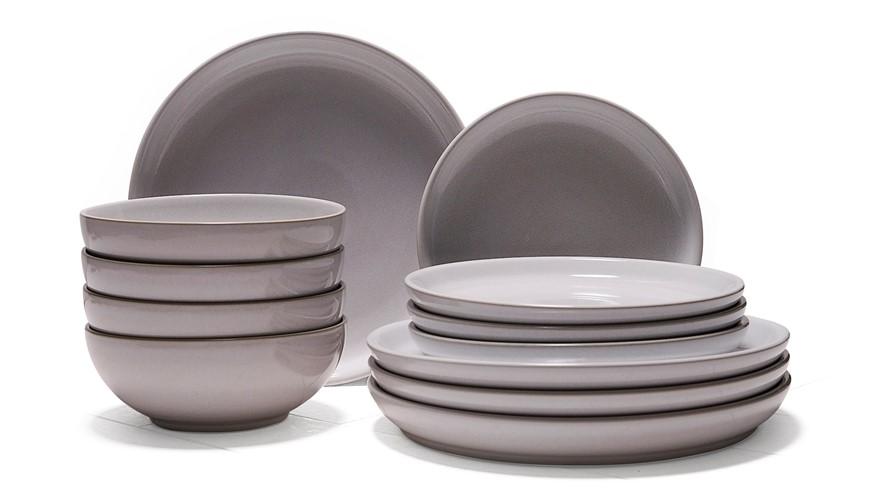 Denby Intro Stone 12 Piece Dinner Set - White