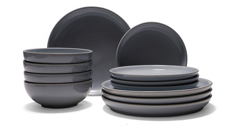 Denby Intro Stone 12 Piece Dinner Set - Grey