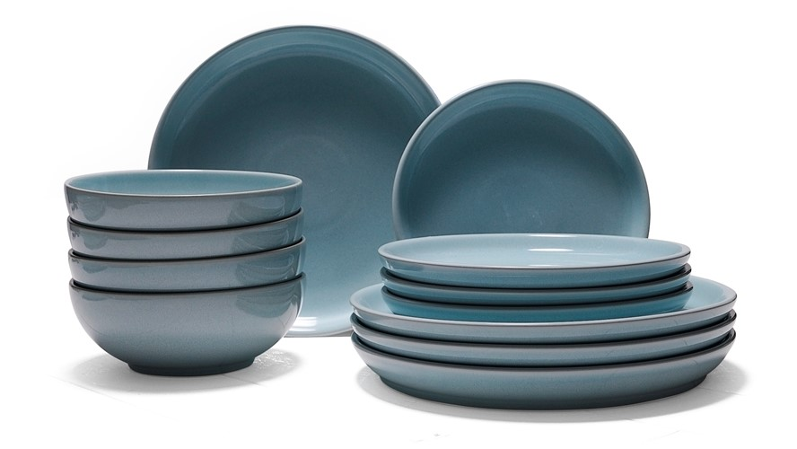 Denby Intro Stone 12 Piece Dinner Set - Pale Blue