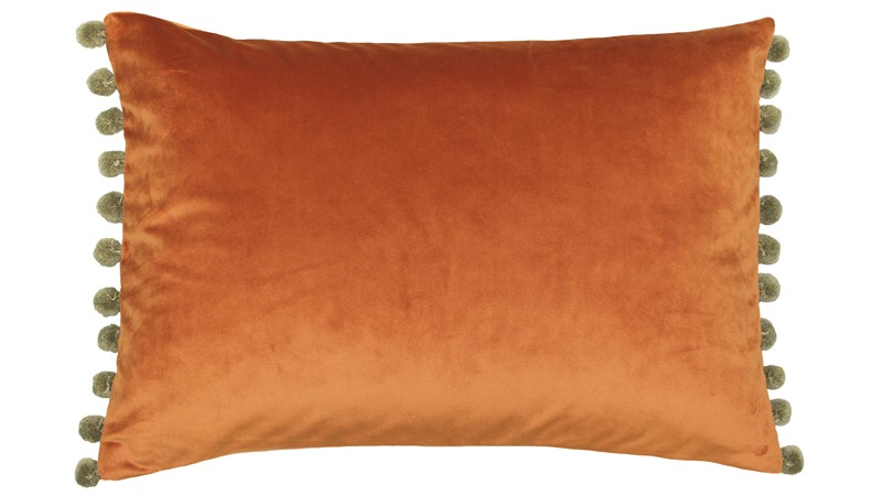 Fiesta Pom Pom Cushion - Rust