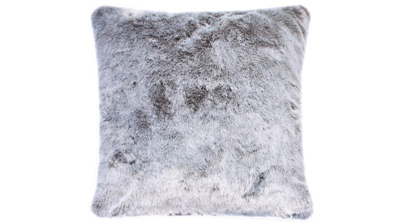 Silver Wolf Faux Fur Square Cushion
