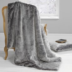 Silver Wolf Faux Fur Throw