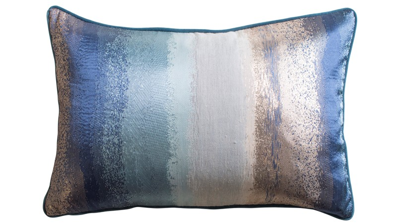 Jacquard Rectangular Cushion - Metallic Ink Teal