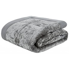 Catherine Lansfield Crushed Velvet Silver Bedspread
