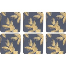 Sara Miller Etch Leaves Coasters Navy
