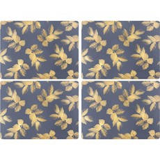 Sara Miller Etch Leaves Placemats Navy