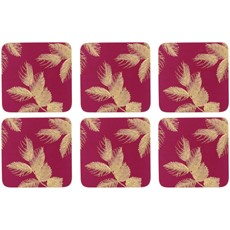 Sara Miller Etch Leaves Coasters Pink