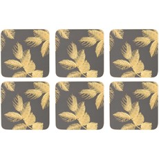 Sara Miller Etch Leaves Coasters Dark Grey