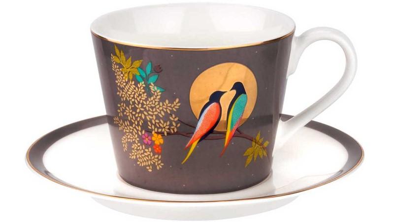 Sara Miller Chelsea Tea Cup & Saucer Dark Grey