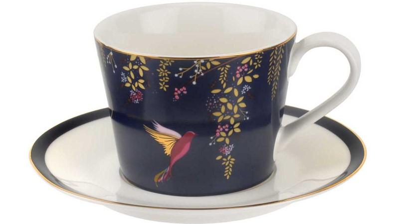 Sara Miller Chelsea Tea Cup & Saucer Navy